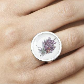 Vintage Lavender Floral Bouquet Retro Jewelry Ring