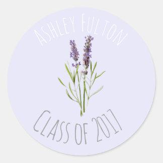 Vintage Lavender for graduations  2017 Round Sticker