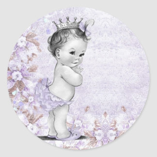Vintage Lavender Purple Baby Shower Stickers