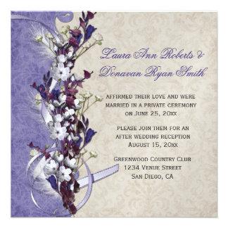 Vintage Lavender Purple Ivory Floral Post Wedding Announcements