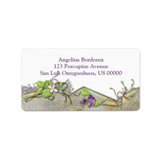 Vintage Lavender Sweet Peas Address Label