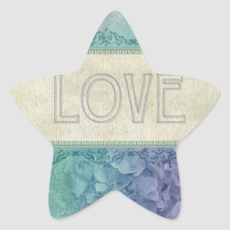 Vintage,lavender,teal,grunge,love,victorian,shabby Star Stickers