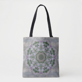 Vintage Lavender Vine Mandala Tote Bag