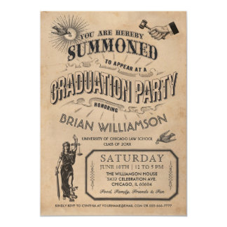 Vintage Law School Graduation Invitation Retro
