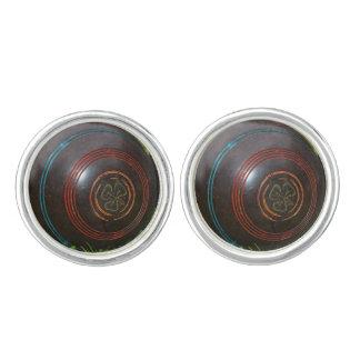 Vintage Lawn Bowls, Silver Round Cufflinks