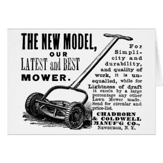 Vintage lawn mower advert card