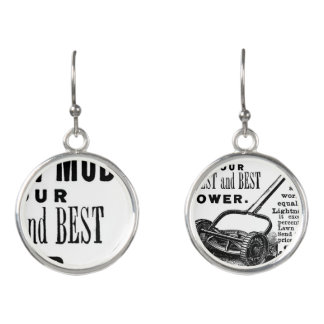 Vintage lawn mower advert earrings