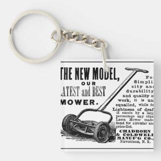 Vintage lawn mower advert key ring