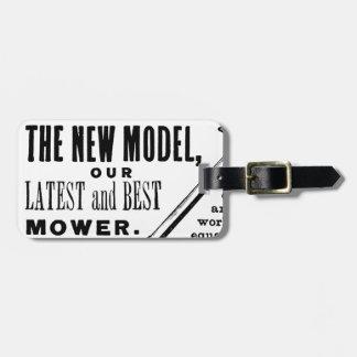 Vintage lawn mower advert luggage tag