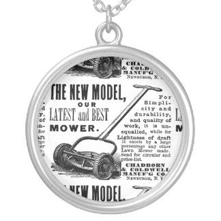 Vintage lawn mower advert silver plated necklace