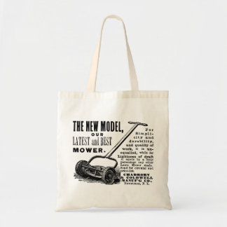 Vintage lawn mower advert tote bag