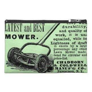 Vintage lawn mower advert travel accessory bag