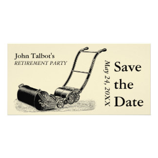 VINTAGE Lawn Mower Retirement Party Save the Date Photo Greeting Card