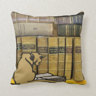 Vintage Leadhills Miners Library Cat Reading Book Cushion