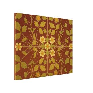 Vintage Leaf and Flower Brown Design Pattern Canvas Print