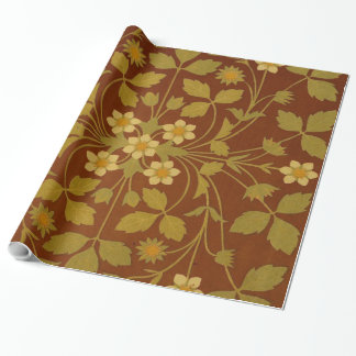 Vintage Leaf and Flower Brown Design Pattern Wrapping Paper