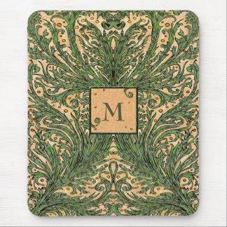 Vintage Leaf Pattern Monogram Mousepad