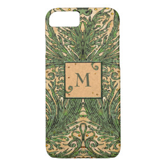 Vintage Leaf Pattern Monogram Phone Case