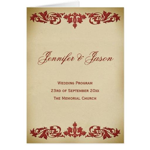 Vintage Leaf Scroll Wedding Program in Burgundy Card