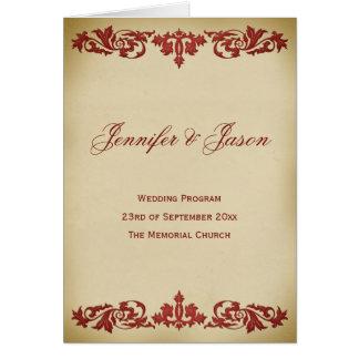 Vintage Leaf Scroll Wedding Program in Burgundy Greeting Card