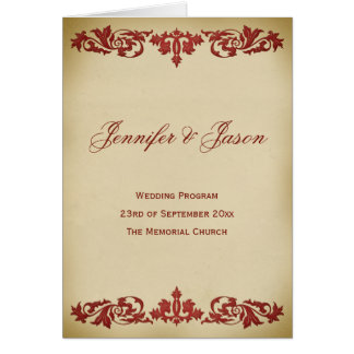 Vintage Leaf Scroll Wedding Program in Burgundy Note Card