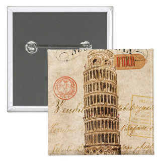 Vintage Leaning Tower of Pisa 15 Cm Square Badge