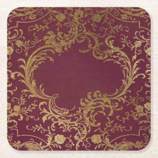Vintage Leather Bound Book Square Paper Coaster