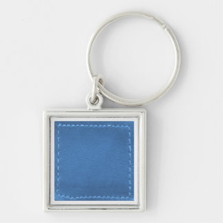 Vintage Leather Look Patchwork - Add Image / Text Silver-Colored Square Key Ring