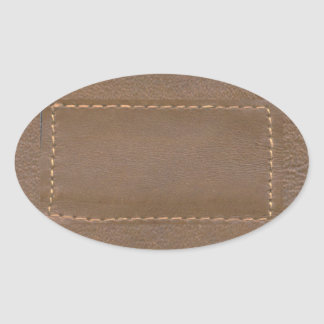 Vintage LEATHER Look Print Finish : Template Oval Sticker
