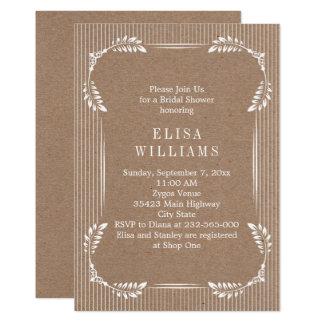 Vintage leaves kraft paper wedding bridal shower card