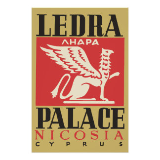 Vintage Ledra Palace Hotel Cyprus travel Poster