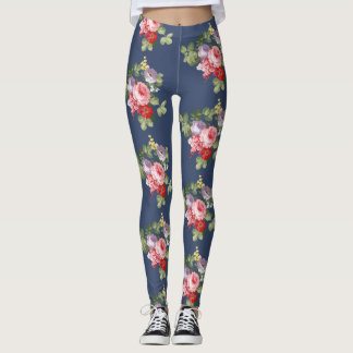 Vintage Leggings blue with flowers, roses of color