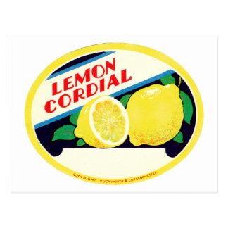 Vintage Lemon Cordial Label Postcard