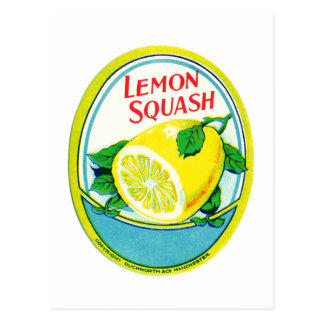 Vintage Lemon Squash Label Postcard