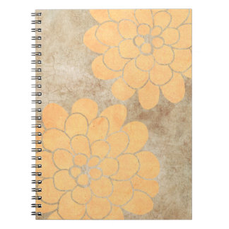 Vintage Lemon Yellow Dahlia Floral Wedding Spiral Notebooks