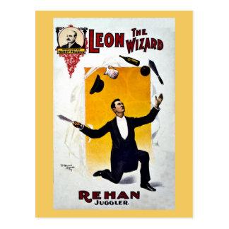 Vintage Leon The Wizard, Rehan Juggler Circus Postcard