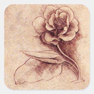 Vintage Leonardo Da Vinci Flower Square Sticker