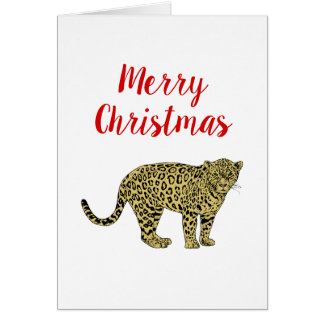 Vintage Leopard Cheetah Spotted Cat Drawing Card