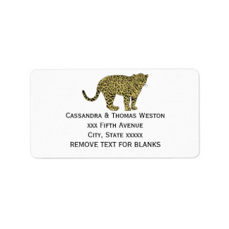 Vintage Leopard Cheetah Spotted Cat Drawing Label