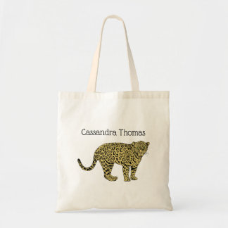 Vintage Leopard Cheetah Spotted Cat Drawing Tote Bag