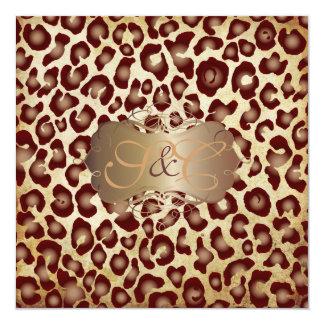 Vintage Leopard spots + swirls 13 Cm X 13 Cm Square Invitation Card