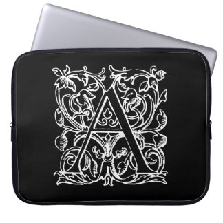 Vintage Letter A Monogram Black White Monogrammed Laptop Sleeves