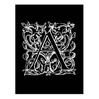 Vintage Letter A Monogram Monogrammed Black White Postcard