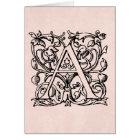 Vintage Letter A Monogram Monogrammed Rose Pink Card