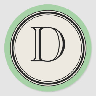 Vintage Letter Circle Frame Seal Template, Jadeite