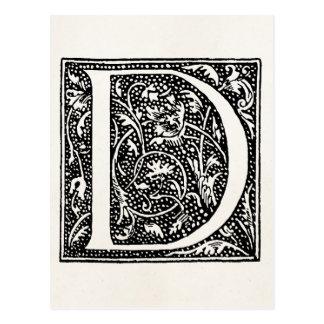 """Vintage Letter D Monogram Parchment """"D"""" Initials Postcard"""