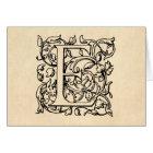 Vintage Letter E Monogram Yellow Parchment Card