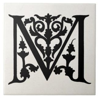 """Vintage Letter M Monogram Parchment """"M"""" Initials Tile"""