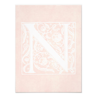 "Vintage Letter N Monogram Rose Pink Parchment ""N"" Photo Print"