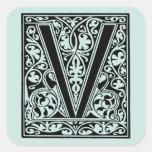 "Vintage Letter V Monogram Aqua Sea Light Blue ""V"""
